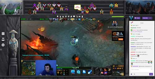 So in etwa könnte eine Arena am Bildschirm aussehen: oben die verschiedenen Fans, allesamt Avatare, dazu das Live-Bild des Spiels und des eSportlers.
